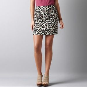 Ann Taylor Loft Leopard Print Mini Skirt